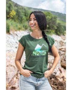"""T-Shirt """"Triangle View"""" women, khaki"""
